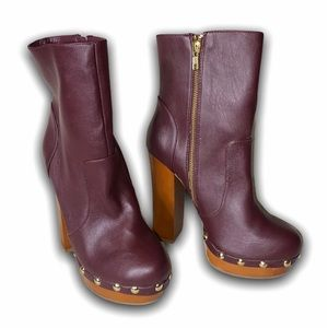 LEILA STONE Shoe Dazzle Granada Maroon High Boots